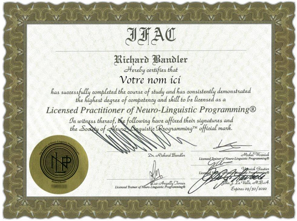 praticien en PNL certification